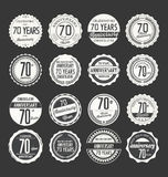 Anniversary retro badge collection, 70 years. Isolated on black background stock illustration