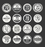 Anniversary retro badge collection, 70 years. Isolated on black background vector illustration