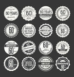 Anniversary retro badge collection, 60 years. Isolated on black background Royalty Free Stock Photo