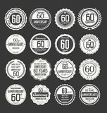 Anniversary retro badge collection, 60 years. Isolated on black background Royalty Free Stock Photography