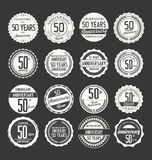 Anniversary retro badge collection, 50 years Royalty Free Stock Image