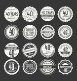Anniversary retro badge collection, 40 years. Isolated on black background Royalty Free Stock Photography