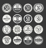 Anniversary retro badge collection, 50 years Stock Photos