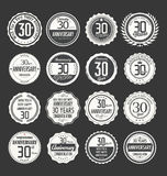 Anniversary retro badge collection, 30 years Royalty Free Stock Photo
