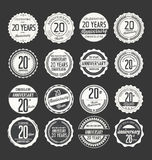 Anniversary retro badge collection, 20 years Stock Images