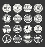 Anniversary retro badge collection, 30 years Stock Images