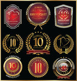 Anniversary retro badges and labels collection Royalty Free Stock Photography