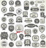 Anniversary retro badges and labels collection Stock Photos