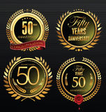 Anniversary retro labels collection, 50 years Royalty Free Stock Photo