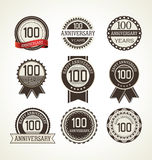Anniversary retro labels collection 100 years. Illustration Stock Photos