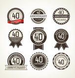 Anniversary retro labels collection 40 years Royalty Free Stock Photos