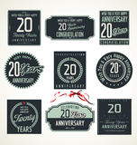 Anniversary retro labels, 20 years. Illustration Stock Image