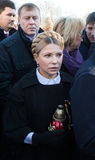 Anniversary of the Revolution of Dignity in Ukraine. KIEV, UKRAINE - NOV 21, 2014: Yulia Tymoshenko during a ceremony of laying flowers near the memorial cross Royalty Free Stock Images