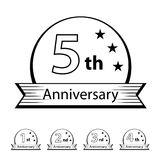 Anniversary ribbon number 1 2 3 4 5. Illustration for the web Stock Photo