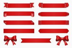 Anniversary ribbon set. Vector banner ribbons and bow Royalty Free Stock Image