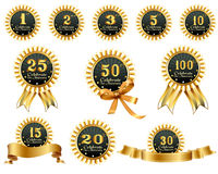 Anniversary ribbons. Collection of anniversary ribbons 1 to 100 years royalty free illustration