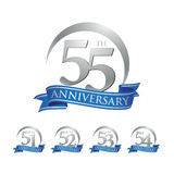 Anniversary ring logo blue ribbon 51st 52nd 53rd 54th 55th Stock Photography