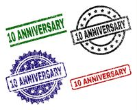 Scratched Textured 10 ANNIVERSARY Stamp Seals. 10 ANNIVERSARY seal prints with corroded texture. Black, green,red,blue vector rubber prints of 10 ANNIVERSARY vector illustration