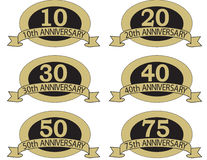 Anniversary seals with. Places at the top & bottom for company name or other information Stock Image