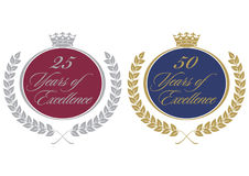 Anniversary seals. Pair of anniversary seals for company literature Royalty Free Stock Photo