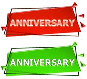 Anniversary sign. Anniversary modern 3d sign isolated on white background,color red and green Royalty Free Stock Photos