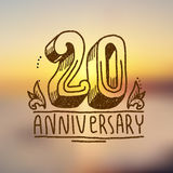 Anniversary sign 20. Anniversary celebration ceremony congratulations 20 sign hand drawn decorative card vector illustration Royalty Free Stock Photo