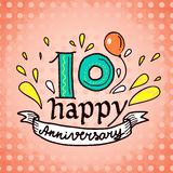 Anniversary sign 10. Anniversary celebration ceremony congratulations 10 sign sketch decorative card vector illustration Royalty Free Stock Photography