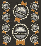 Anniversary sign collection. And cards design in retro style. Template of anniversary, jubilee or birthday card with number editable. Vintage vector typography Stock Images