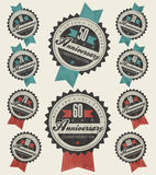 Anniversary sign collection and cards design in retro style. Royalty Free Stock Images