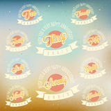 Anniversary sign collection and cards design in retro style. Royalty Free Stock Photo