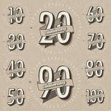 Anniversary sign collection and cards design in retro style. Template of anniversary, jubilee or birthday card with number editable. Vintage vector typography Stock Photography