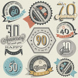 Anniversary sign collection and cards design in retro style. Royalty Free Stock Photography