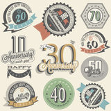 Anniversary sign collection and cards design in retro style. Template of anniversary, jubilee or birthday card with number editable. Vintage vector typography Stock Photos