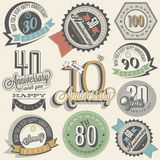 Anniversary sign collection and cards design in retro style. Template of anniversary, jubilee or birthday card with number editable. Vintage vector typography Stock Images