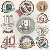 Anniversary sign collection. And cards design in retro style. Template of anniversary, jubilee or birthday card with number . Vintage  typography. Deer Royalty Free Stock Image