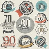 Anniversary sign collection. And cards design in retro style. Template of anniversary, jubilee or birthday card with number . Vintage  typography. Deer Stock Images