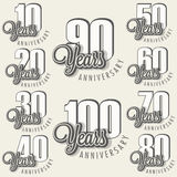 Anniversary sign collection and cards design in retro style. Template of anniversary, jubilee or birthday card with number . Vintage  typography Royalty Free Stock Image