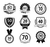 Anniversary sign collection, retro design Royalty Free Stock Image