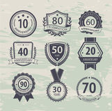 Anniversary sign collection, retro design Royalty Free Stock Photo