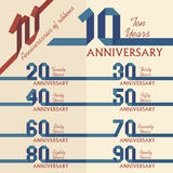 Anniversary sign collection. In ribbons shape, flat design Stock Image