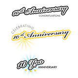 Anniversary sign collection. 10th Anniversary sign collection, retro design, illustration Stock Illustration