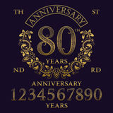 Anniversary sign kit. Golden numbers, frame and some words Stock Images