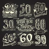 Anniversary signs chalkboard set Stock Images