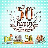 Anniversary signs set. Anniversary celebration ceremony congratulations sketch 10 20 30 40 50 signs colored collection set vector illustration Royalty Free Stock Photos