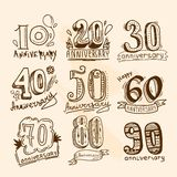Anniversary signs set Royalty Free Stock Photography