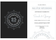 25 anniversary with silver badge Stock Photography