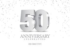 Anniversary 50. silver 3d numbers. Poster template for Celebrating 50th anniversary event party. Vector illustration vector illustration