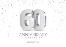 Anniversary 60. silver 3d numbers. Poster template for Celebrating 60th anniversary event party. Vector illustration stock illustration