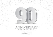 Anniversary 90. silver 3d numbers. Poster template for Celebrating 30th anniversary event party. Vector illustration vector illustration