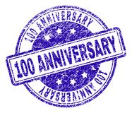 Scratched Textured 100 ANNIVERSARY Stamp Seal. 100 ANNIVERSARY stamp seal imprint with distress texture. Designed with rounded rectangles and circles. Blue vector illustration